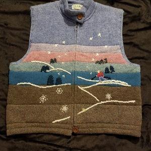 Vtg LL Bean 100% wool ski scene sweater vest